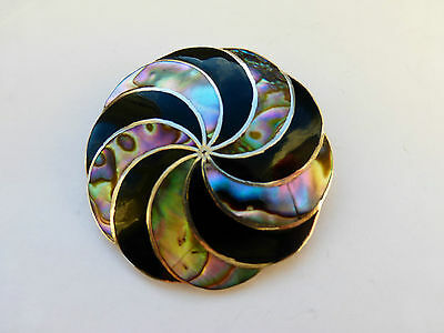 Vintage Large Signed Mexican Taxco Silver Abalone onyx brooch pin pendant