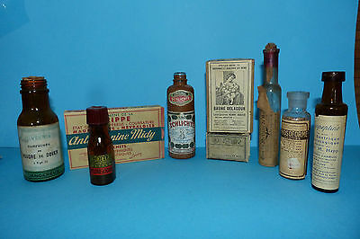 Old French Apothecary Lot - 6x glass chemist bottles and 3x small boxes