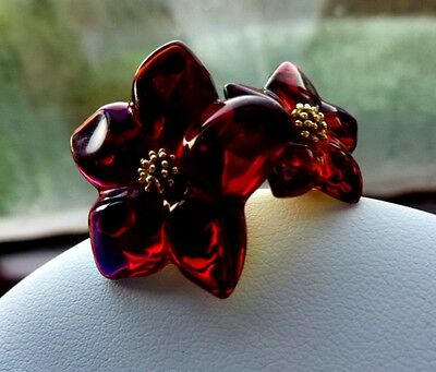 Rare 18ct 18k Gold 2 Flower Ruby Iridescent Baccarat Ring Size T55 UK Q