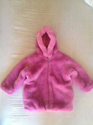 Lovely Girls Pink faux fur style Coat Size 3-4 Years