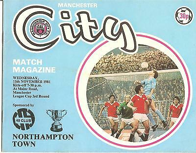 1981/82  League Cup 3Rd Round  Manchester City V Northampton Town