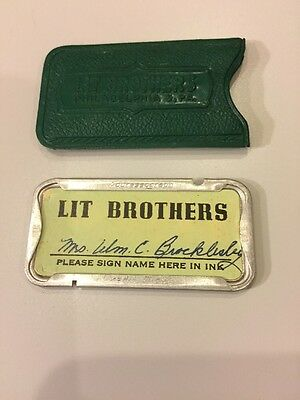 Vintage Lit Brothers Dept Store Charge Plate & Case Philadelphia PA Credit Card