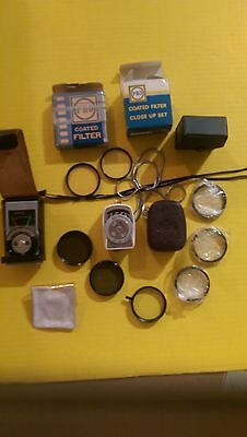 Lot of Vintage 35mm SLR Items, Filters, Light Meters, Tiffen, Hova, Pentax, PRO