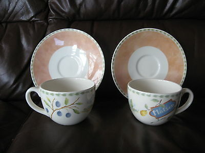 PAIR of ROYAL STAFFORD FRENCH RUSTIC STYLE 'MAISON' LARGE CUPS AND SAUCERS