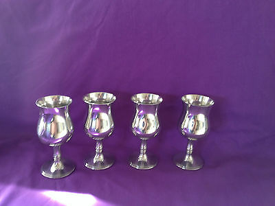 Set of 4 elegant  English  silver plated goblets