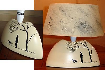 Hand Painted Greyhound Whippet Lurcher Dog Ceramic Table Lamp 7049 Dianne Heap