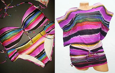 NEW Luli Fama BIKINI+dress/cover up/tunic ISLA BONITA STRIPED MULTI-COLOR L/M