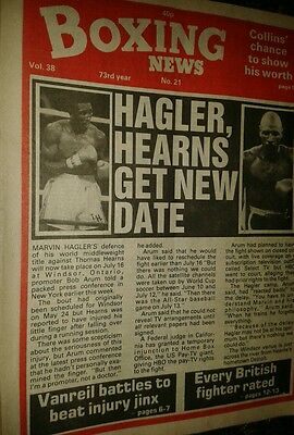 May 21st  1982    Boxing  News  HAGLER V HEARNS DATE/BRITISH RATINGS