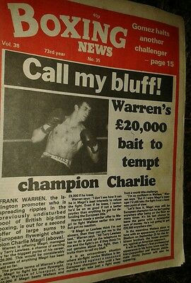 Aug 27th   1982  Boxing  News CHARLIE MAGRI / SALVADOR SANCHEZ TRIBUTE