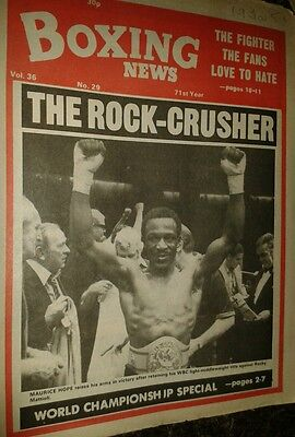 July 18th  1980   Boxing  News MAURICE HOPE-ROCKY MATTIOLI / KIRLAND LAING