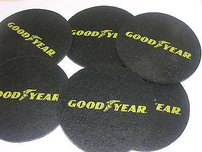 """Good Year Tire Advertising Set of 6 Rubber Coasters 3 1/2"""" Round"""