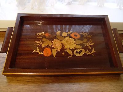 Wooden Lacquered Tray with Inlay Flower Pattern