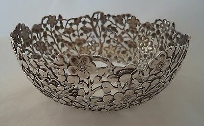 CHINESE ANTIQUE c1890 WANG HING SOLID / STERLING SILVER CHERRY BLOSSOM BOWL