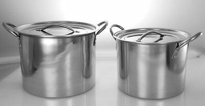 Buckingham Set of 2 Stainless Steel Stock Pots 6 Ltr & 8 Ltr
