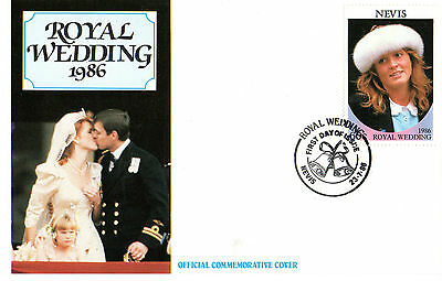 NEVIS 23 JULY 1986 ROYAL WEDDING 60c UNADDRESSED FIRST DAY COVER SHS