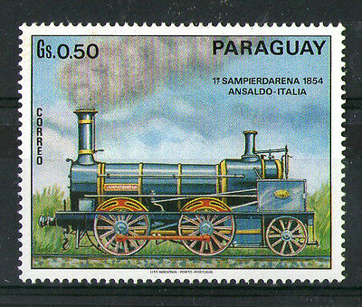 PARAGUAY Gs 0.50 ITALIAN STEAM LOCOMOTIVE COMMEMORATIVE STAMP MNH