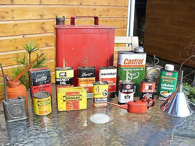 Vintage Automobilia Display Tins Oil Cans Petrol Can Classic Car Garage