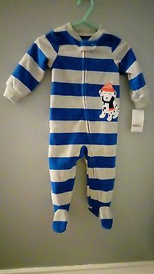 Carter's Baby Boy Long Sleeve One Piece Fleece Outfit Blue Gray 9 months NWT