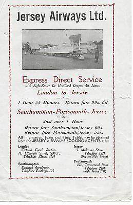 Jersey Airways Handbill