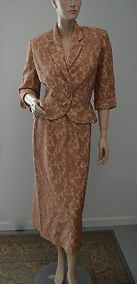 Vintage Peggy Hunt California Lace Overlay Peplum Skirt Jacket Suit 40's 50's