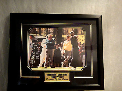 """Golf Champions of  Masters framed Print 18"""" x 22"""" Woods Palmer Nicklaus unsigned"""