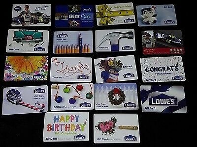 18 Collectible Gift Card Home Lowe's Hardware Man Store Diff Lot No Value  2010