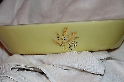 Vintage Glasbake Divided Serving Dish, yellow w/ golden wheat pattern