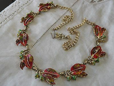 Lovely Vintage 1950s Colourful Enamel Autumn LEAF Necklace by Exquisite