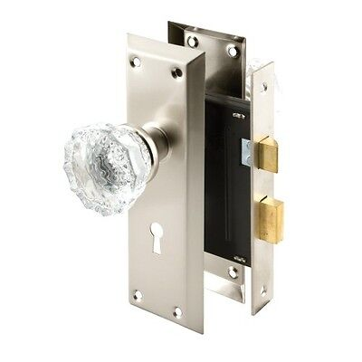 Prime-Line Products E 2496 Keyed Mortise Lock Set with Glass Knob, Satin Nickel