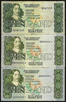 South Africa 10 Rand 1978, 1988, 1990 - details in listing