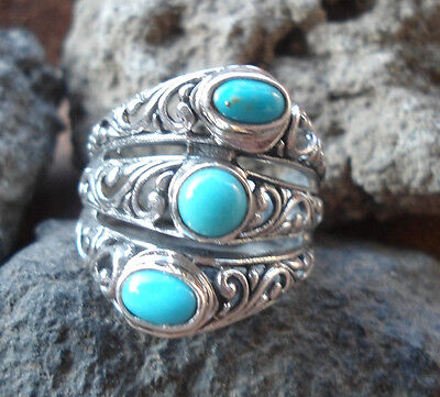 925 Sterling Silver-LH100-Balinese Handcrafted Ring Three Turquoise Size 8