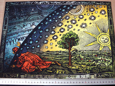 A3 size THE FLAMMARION ENGRAVING 1888, FLAT EARTH TRAVELLER LOOKS UNDER DOME