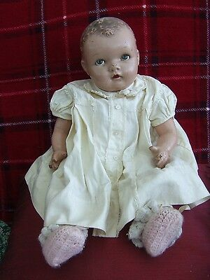 """VINTAGE """"IDEAL"""" COMPOSITION DOLL WITH CLOTH BODY. 30's?"""