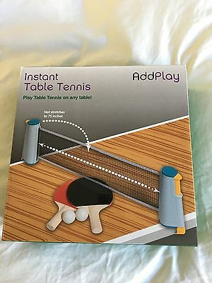 Instant Extendable Full Size Table Tennis Game Set With Net, Rubber Handled Bats