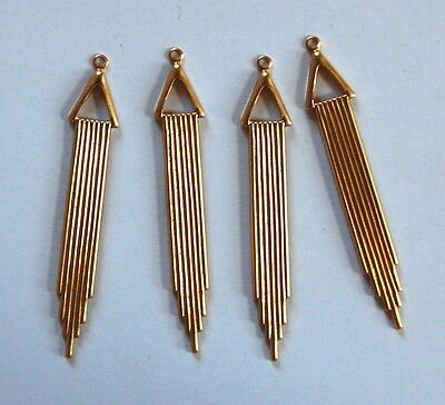 Vintage 4 Raw Brass Stamping Pendant Beads Art Deco Fringe Long Bead