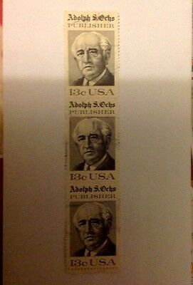 3 USA 13c Commemorative Stamps, Adolph S. Ochs, Cancelled, Postally Used Block.