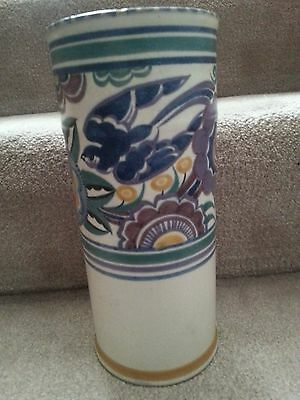 1925-34 Carter Stabler Adams Poole Red Bodied Bluebird Vase-10 Inches High