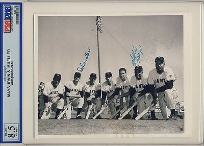Willie Mays Signed Rookie Wire Photo Graded Psa/dna 8.5 Autographed 1951