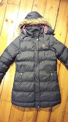 Girl's Long Warm Dark Navy Winter Coat With A Hood, Age 11-12, Excellent Cond