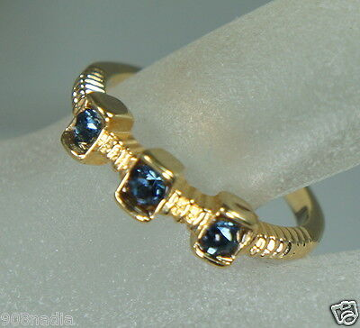 Vintage 18K Gold Plated Woman's Ring/band 3 Stone Blue Rhinestone Size 5