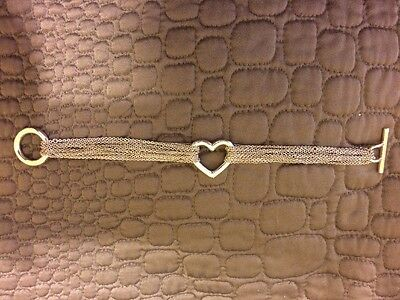 Tiffany & Co. Multi-Strand Mesh Open Heart Toggle Bracelet 925 Sterling Silver