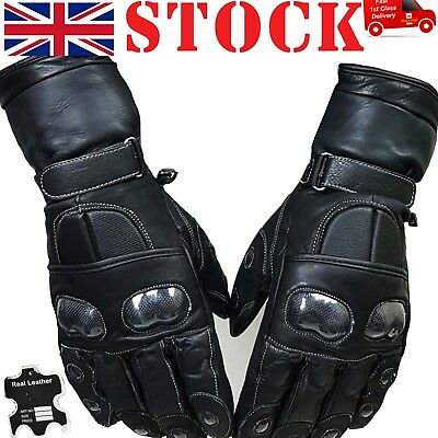 Winter Thermal Motorcycle Motorbike Leather Gloves Water Proof Padded Protection