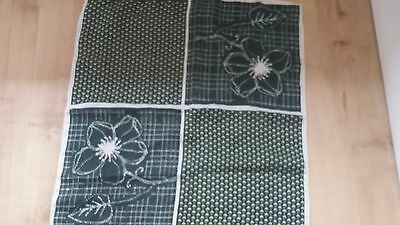 Vintage OuiSet Green & Cream Floral Patterned Silk Scarf