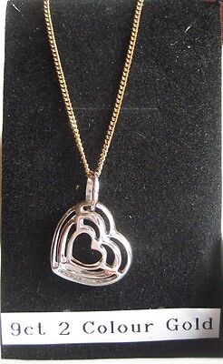 9ct Yellow & White Gold Heart Necklet