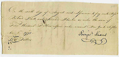 VERY RARE 1791 Promisory Note Signed by Benjamin Seixas JUDAICA