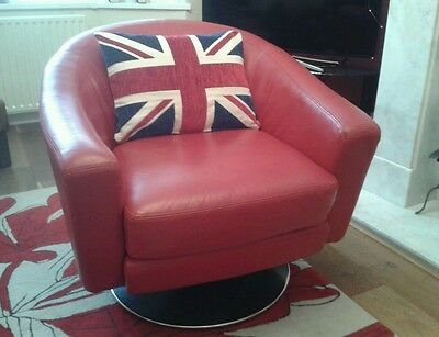 Barker and Stonehouse Red Leather Iconic Swivel Armchair Retro