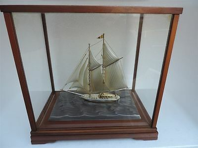 Masterly H-Crafted 2 Masted Solid Sterling Silver Boat Yacht Ship W Glass Case