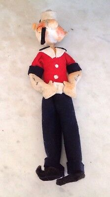 Vintage Popeye the Sailor man Figure 30cms - Felt Costume- Wire Armature - Good