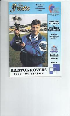 Bristol Rovers v Brighton Football Programme 1993/94