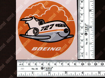 ROUND BOEING B727 B 727 OLD VINTAGE PUDGY STYLE DECAL / STICKER 3.5x3.5in/9x9cm